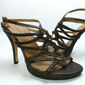 Max Studio Metallic Strappy Platform Sandals 5M
